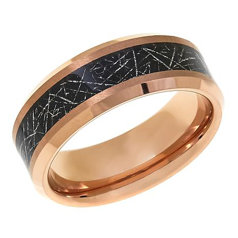 Men's Rose Tantalum Carbon-Fiber-Striped 8mm Wedding Band
