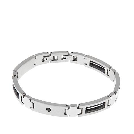 Men's Stainless Steel Black Rope and Screw Bracelet