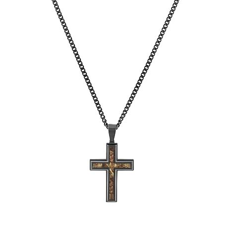 Men's Stainless Steel Camouflage Inlay Cross Necklace