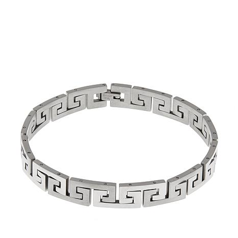 "Men's Stainless Steel Greek Key Link 8-1/2"" Bracelet"