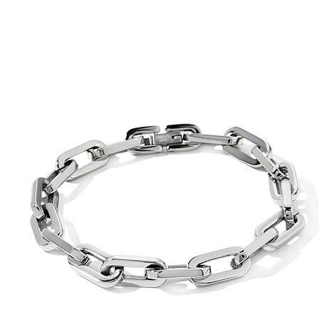 "Men's Stainless Steel Oval Link 8-1/2"" Bracelet"