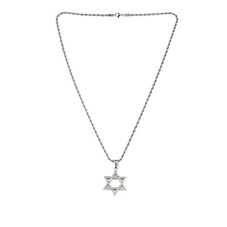 Men's Stainless Steel Star of David Pendant with Chain