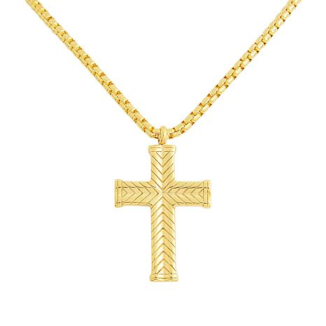 Men's Stainless Steel Textured Cross Pendant with Chain