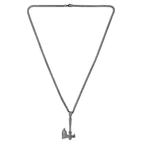 "Men's Two-Tone Stainless Steel Antique Axe Pendant with 24"" Chain"