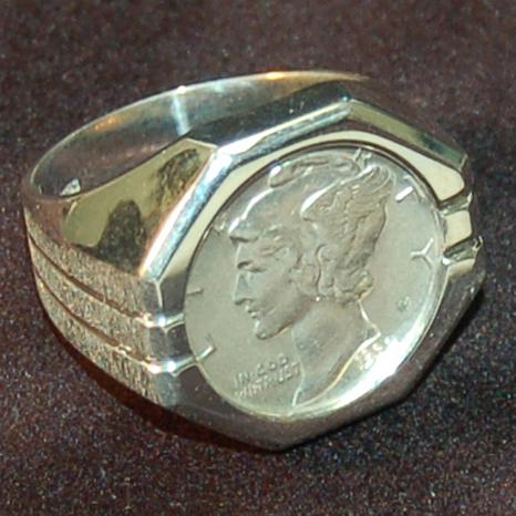 Mercury Dime Sterling Silver Octagonal Polished Ring