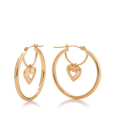 Michael Anthony 10K Gold Heart Charm Drop Hoop Earrings
