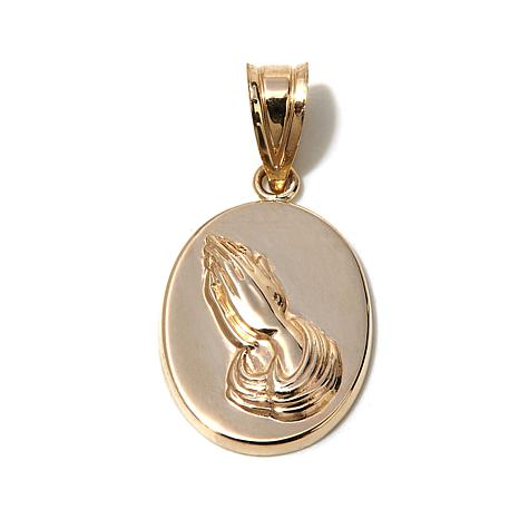 Michael Anthony® 10K Gold Praying Hands Oval Pendant