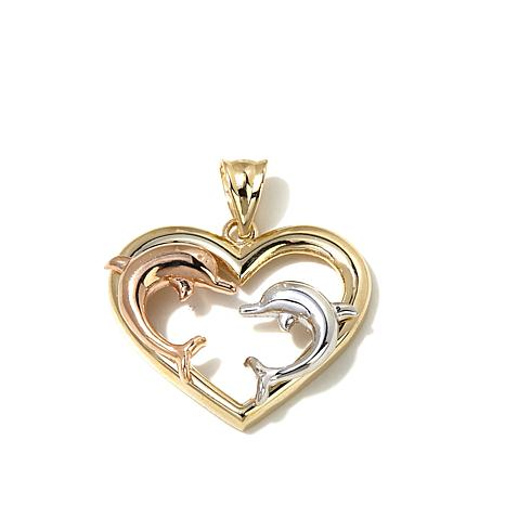 Michael Anthony 10K Gold Tri-Tone Dolphin Heart Pendant