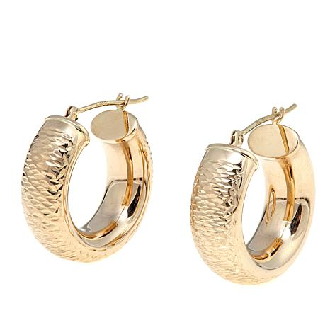 Michael Anthony® 10K Yellow Gold Diamond-Cut Wide Hoops