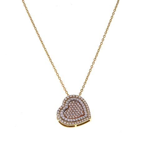 "Michael Anthony Jewelry® 10K 1.18ctw CZ Tri-Color Heart 17"" Necklace"