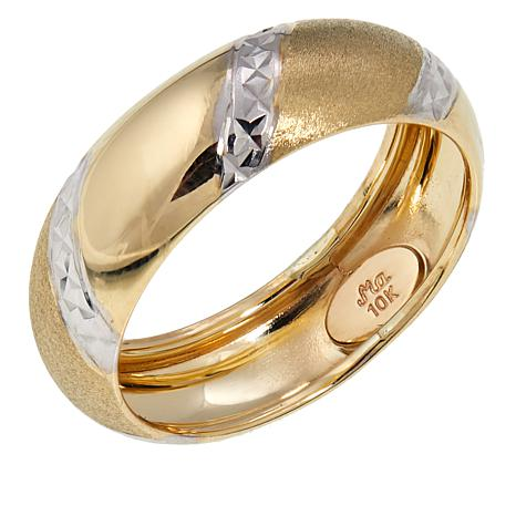 Michael Anthony Jewelry® 10K 2-Tone Diamond-Cut Band Ring
