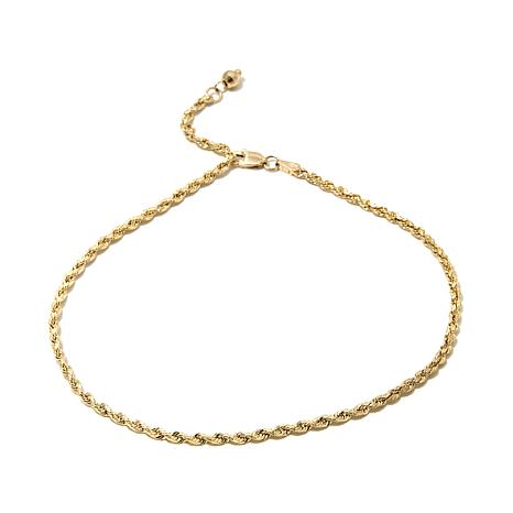 figaro link p solid royal ankle s inches anklet real yellow bracelet gold