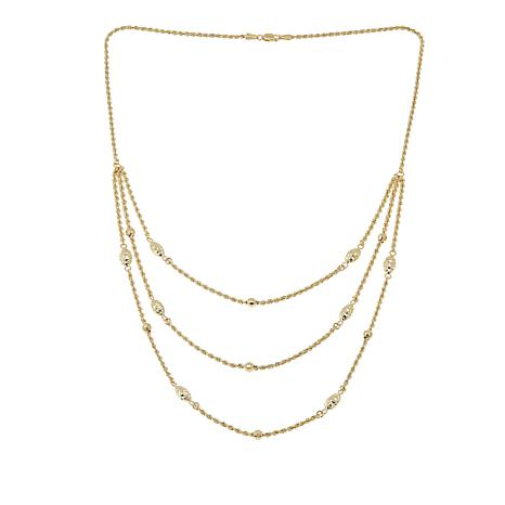 "Michael Anthony Jewelry 10K 3-Row Layered Rope Chain 17-7/8"" Necklace"