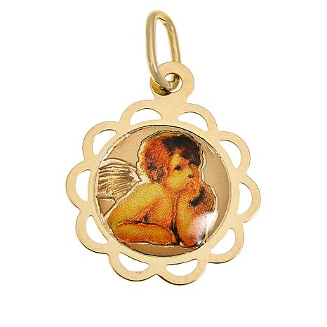Michael Anthony Jewelry® 10K Cherub Picture Round Pendant