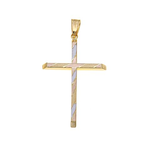 Michael Anthony Jewelry® 10K Tri-Color Cross Pendant
