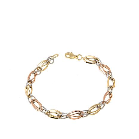 "Michael Anthony Jewelry® 10K Tri-Color Link 7-1/4"" Bracelet"