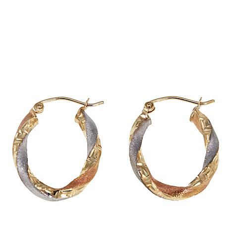 Michael Anthony Jewelry® 10K Tri-Color Oval Hoop Earrings