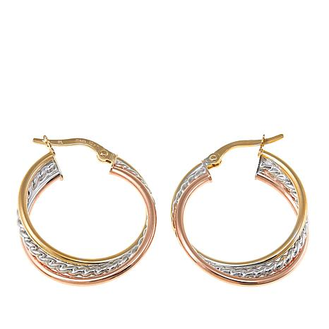 Michael Anthony Jewelry® 10K Tri-Color Twist Hoop Earrings