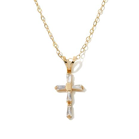 Michael Anthony Jewelry® 14K Kids CZ Cross Pendant with 13