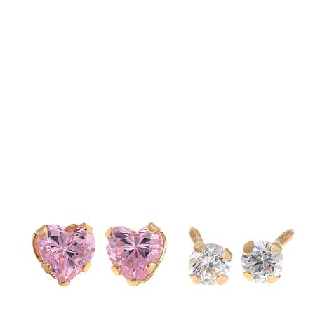 Michael Anthony Jewelry® 14K Kid's CZ Stud and Heart Earring Set