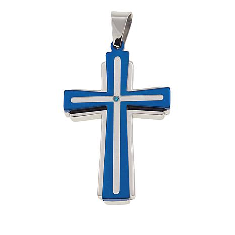 Michael Anthony Jewelry® 2-Tone Blue CZ Cross Stainless Steel Pendant