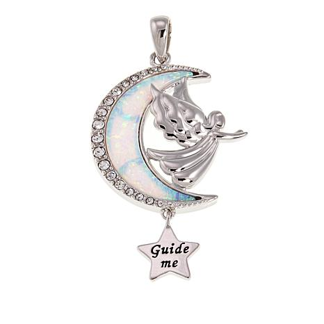 Michael Anthony Jewelry® Moon, Star and Angel Gem and Crystal Pendant