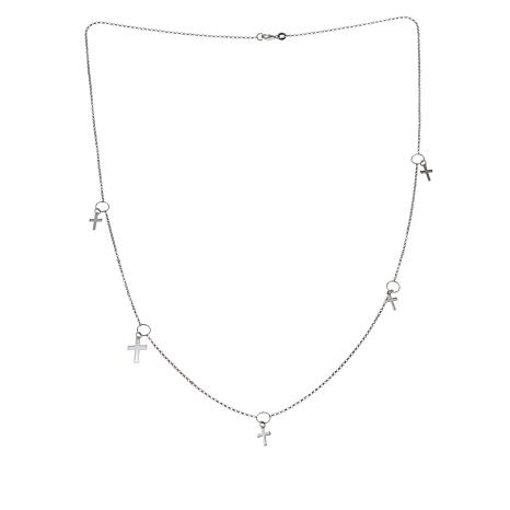 Michael Anthony Jewelry® Sterling Silver Multi-Cross Charm Necklace