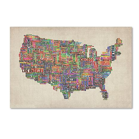 "Michael Tompsett ""US Cities Text Map VI"" Art- 18"" x 24"""