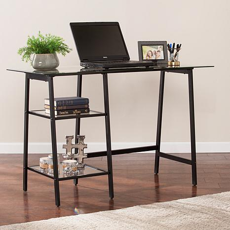 Michaela Metal Glass Sawhorse A Frame Writing Desk Black
