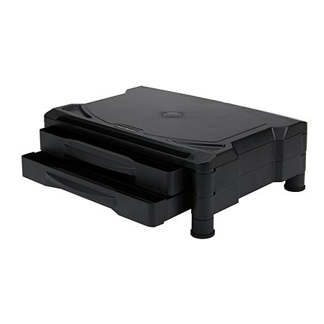 Mind Reader 2-Drawer Tiered Plastic Monitor Stand with Storage