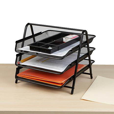 Mind Reader 3-Tier Metal Mesh Paper Organizer