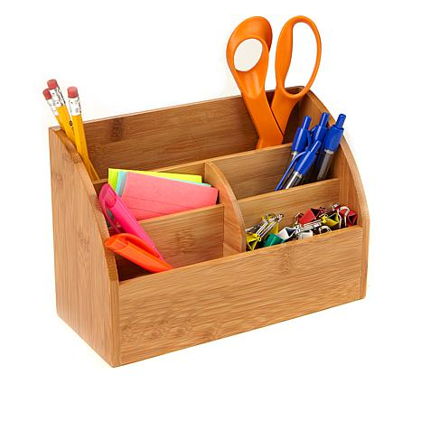 Mind Reader 5-Compartment Bamboo Desk Organizer