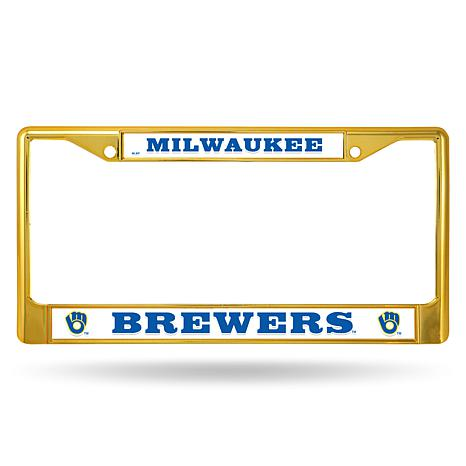 MLB Gold Chrome License Plate Frame - Brewers