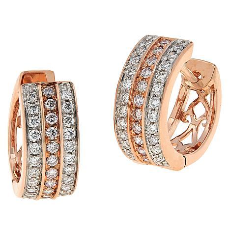 Modani Jewels 14K Gold .50ctw Colored and White Diamond Hoop Earrings