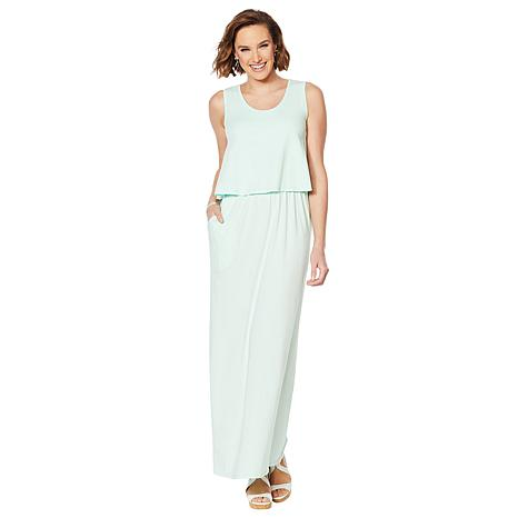 ModernSoul® Easy Knit Jersey Double-Layer Maxi Dress