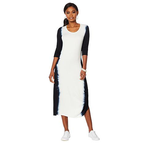 ModernSoul® French Terry 3/4-Sleeve Gathered Dress