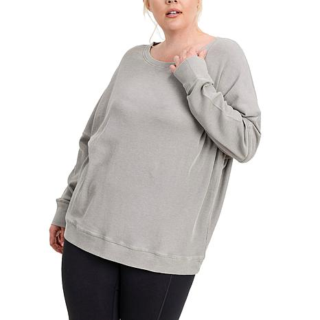 Mono B Waffle Ribbed Pullover - Plus