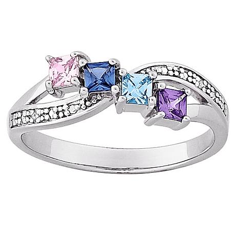 43014e105af3a Sterling Silver Mothers Square Family Birthstone & Genuine Diamond Ring