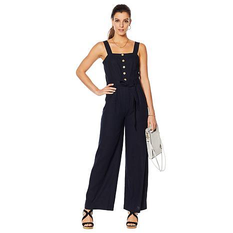Motto Button-Front Linen-Blend Jumpsuit