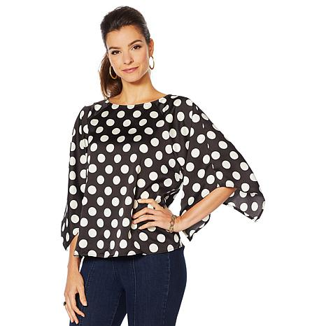 Motto Printed Drama-Sleeve Top