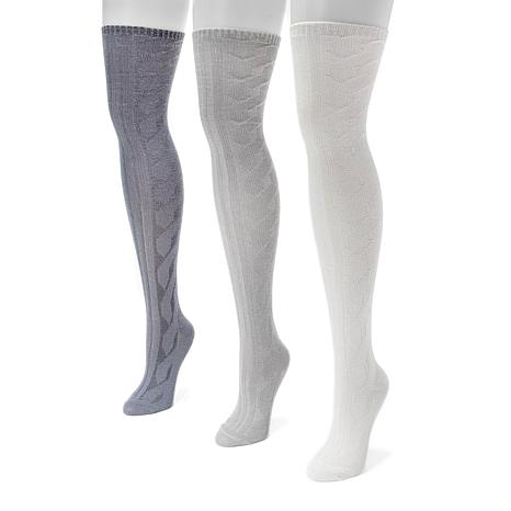 MUK LUKS 3-pair Cable Knit Over-the-Knee Socks