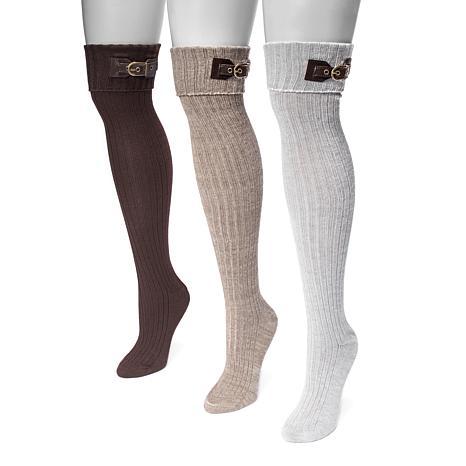 MUK LUKS Women's 3-pack Buckle Cuff Over-the-Knee Socks