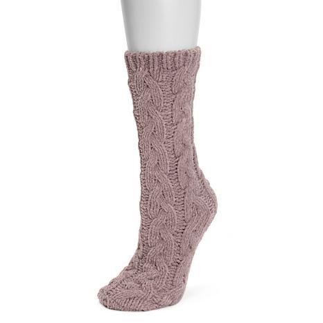 MUK LUKS Women's Mid-Chunky Cable Chenille Socks