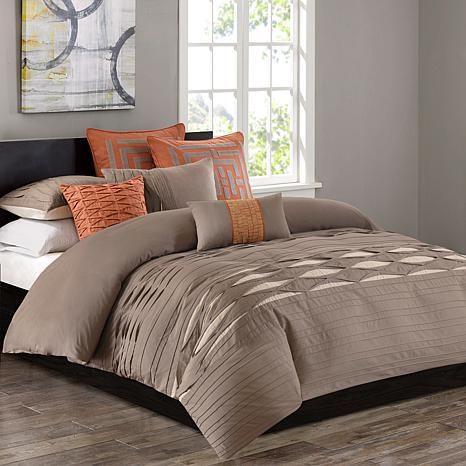 N Natori Nara Cotton Duvet Cover & Shams- King/Neutral