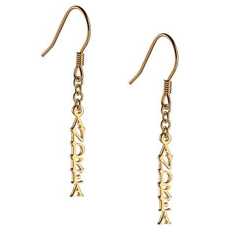 Name with Chain Dangle Earrings