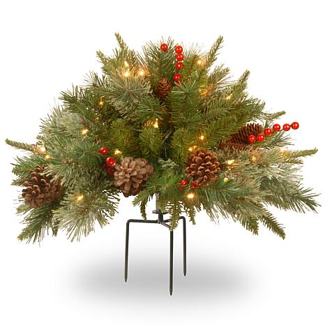 """National Tree Feel Real® 18"""" Colonial Urn Filler w/ Warm White Lights"""