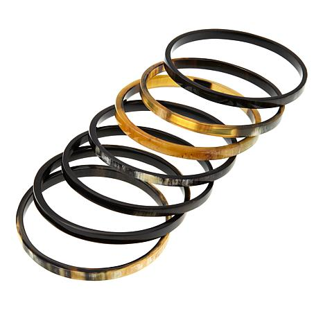Natural Beauties 7 Piece Buffalo Horn Bangle Bracelet Set