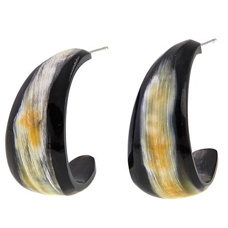 Natural Beauties Black Watusi Cattle Horn Hoop Earrings