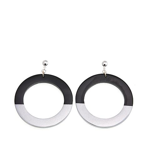 Natural Beauties Dark Buffalo Horn Circle Drop Silver Lacquer Earrings