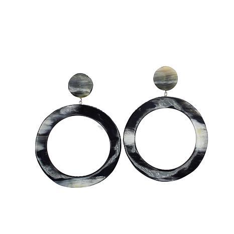 Natural Beauties Large Circle Watusi Cattle Horn Dangle Earrings